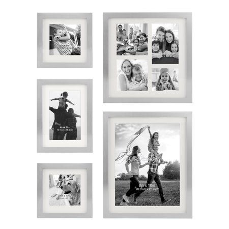 Stonebriar Decorative Stamped Silver 5 Piece Photo Frame Set, Wall Hanging Display, Modern Gallery Wall