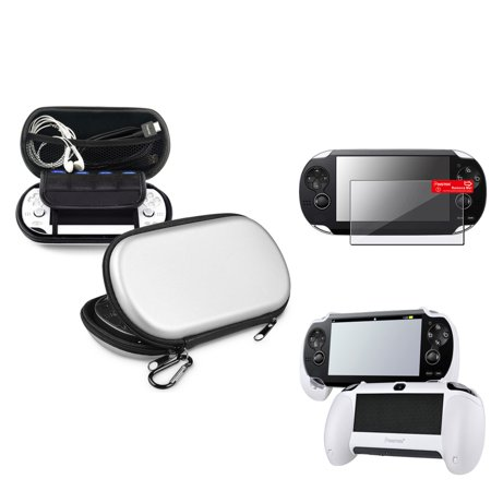 Insten Silver EVA Case+White Hand Grip+Clear Screen Protector For Sony PS Vita PSV ()