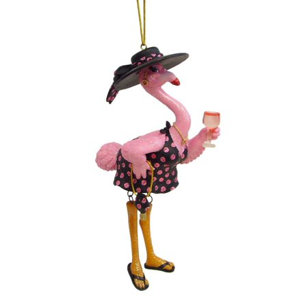 December Diamonds Pink Flamingo Felisha Drinking Wine Christmas Ornament](Flamingo Ornaments)