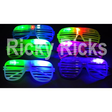 12 PCS LED Glasses Shutter Sunglasses Light Up Shades Flashing Rave Wedding EDC (12 Pack) - Light Up Toys.com