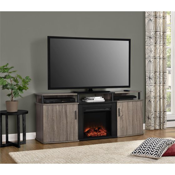 ameriwood home carson electric fireplace tv console for tvs up to 70 wide distressed brown oak. Black Bedroom Furniture Sets. Home Design Ideas