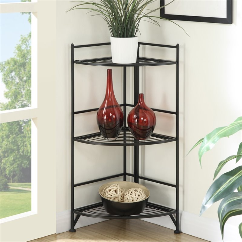 Pemberly Row Corner Plant Stand in Black