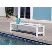 Bradley Eco-friendly Backless Patio Garden Bench in White Finish