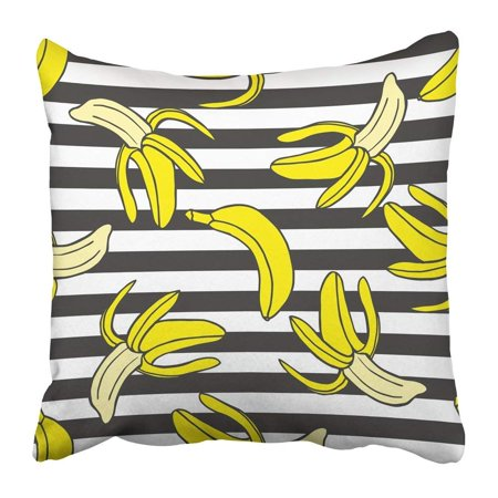 BPBOP Black Doodle Colorful of Bananas on Striped in Pop Style White Leaf Watercolor Cartoon Color Exotic Pillowcase 16x16 (Doodle Pops)