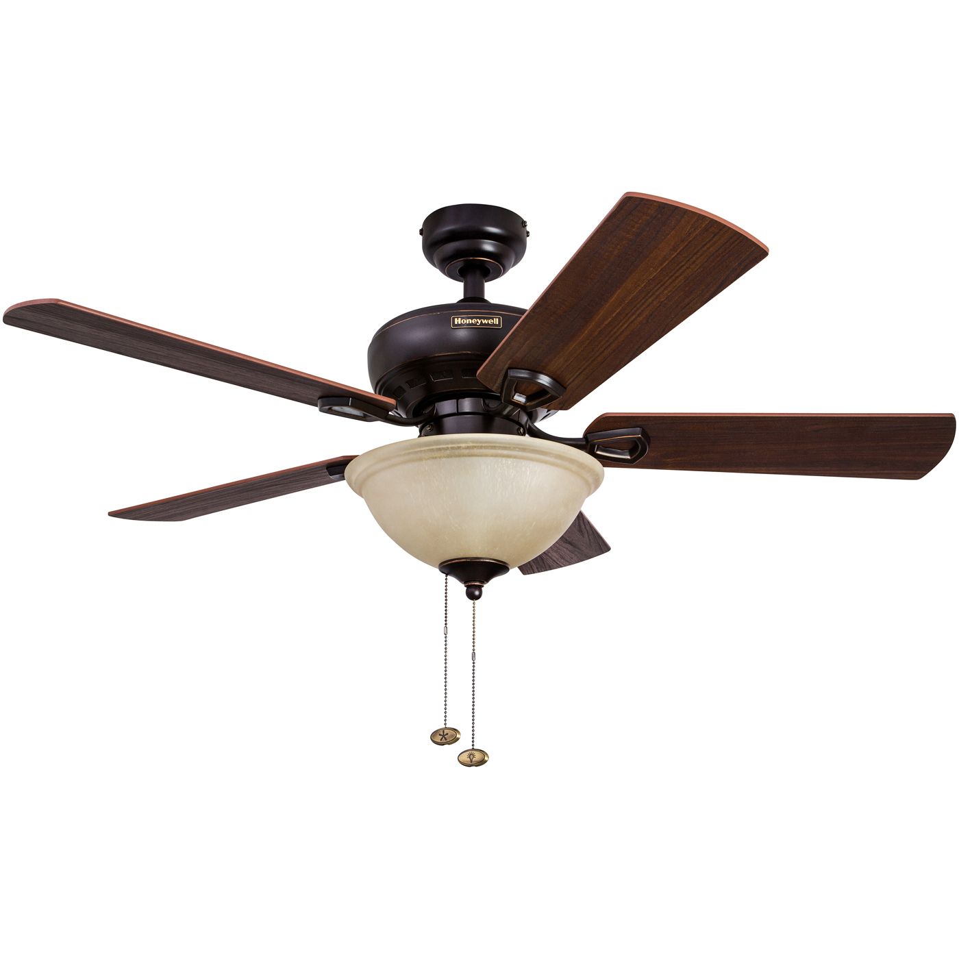 """44"""" Honeywell Woodcrest Oil Rubbed Bronze Ceiling Fan with Bowl Light by HKC"""