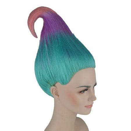 Trollz Sky Blue, Lavender And Pink Wig Cosplay Costume Movie TV Hair - Movie Wigs