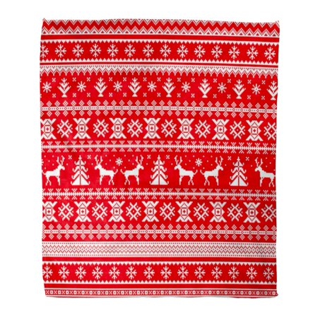 KDAGR Flannel Throw Blanket Christmas Deer Snowflake and Tree White Pixel Images Red Soft for Bed Sofa and Couch 50x60 Inches