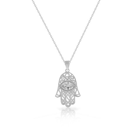 925 Sterling Silver White Clear CZ Filigree Hamsa Good Luck Pendant Necklace