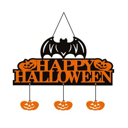 Happy Halloween Non-Woven Banner Bat Pumpkin Elements Wall Door Hanging Sign Hanger with 1.5m String Halloween Party Decor Props