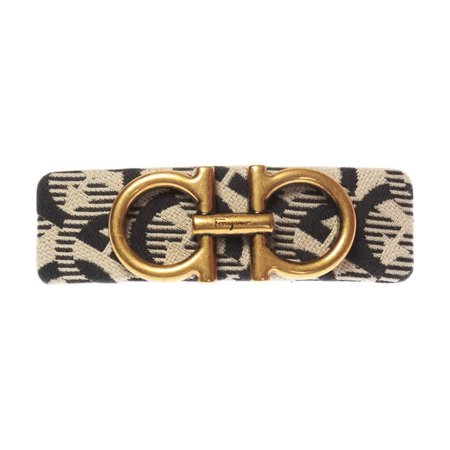 Salvatore Ferragamo Ladies Gancini Print Hairclip Brand: Salvatore Ferragamo. SKU: 347498 707027. Barcode: 8056744722977. Color: Beige/Black. Salvatore Ferragamo Ladies Gancio Print Hairclip. Beige and black hair pin from Salvatore Ferragamo. Decorated with an applique featuring the 'Gancini' motif in antiqued gold-tone.