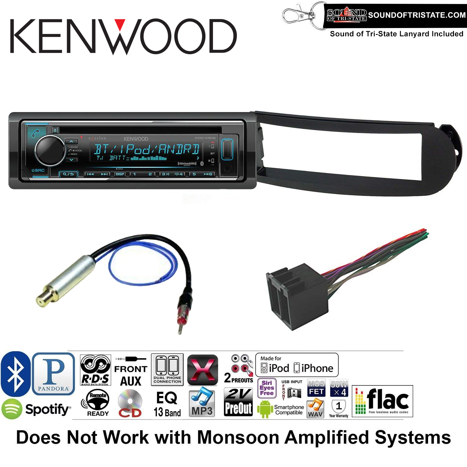 Kenwood KDCX302 Double Din Radio Install Kit with Bluetooth, CD Player, USB/AUX Fits 1998-2010 Volkswagen Beetle - (With Aktiv Factory Amplified System) and a SOTS lanyard included