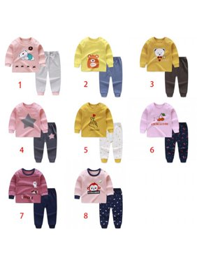 MarinaVida Baby Girls Boys Cartoon Print Long Sleeve Tops+Pants Pajamas
