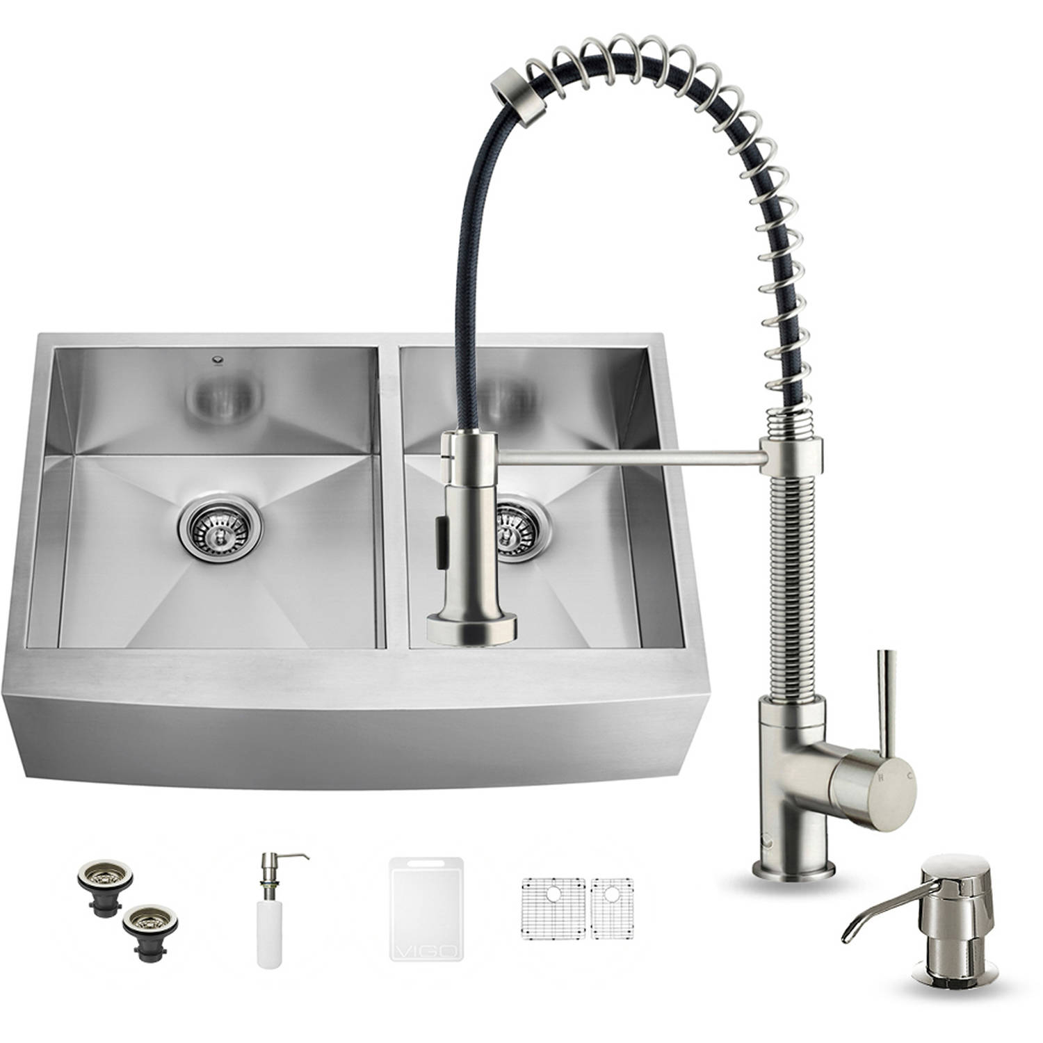 "Vigo All-in-One 36"" Farmhouse Stainless Steel Double Bowl Kitchen Sink and Faucet Set"