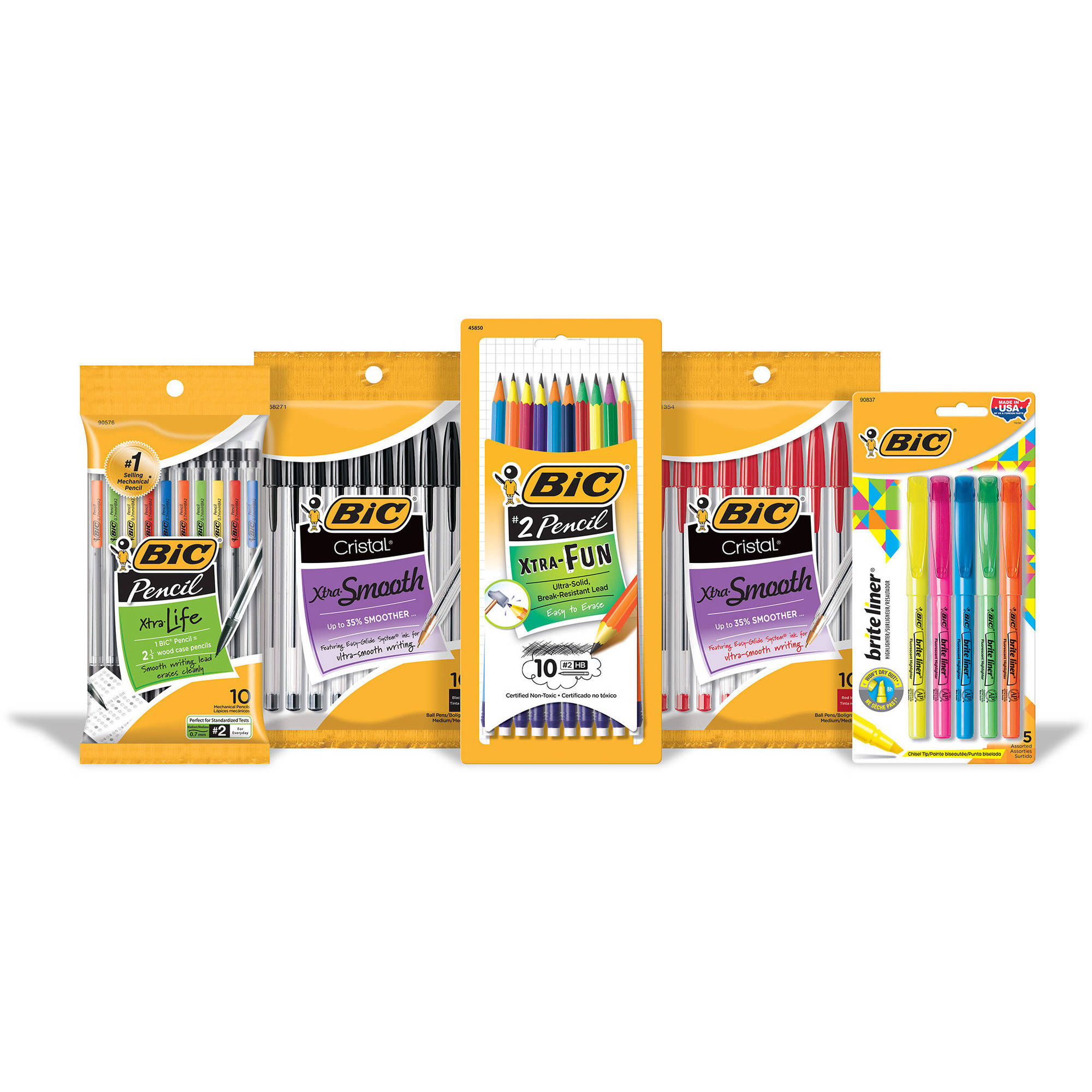 BIC Writing Bundle with Pens, Pencils and Highlighters, 45 Pieces