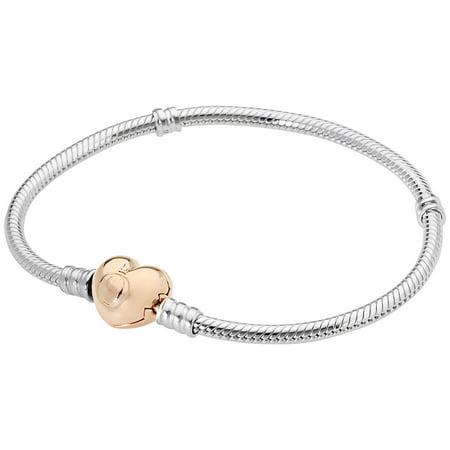 Sterling Silver Bracelet w/ Rose Heart Clasp 580719-19 cm 7.5 in