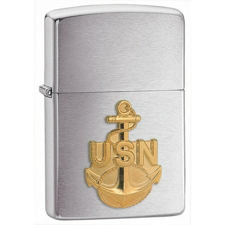 Zippo Navy Anchor Emblem Brushed Chrome Lighter