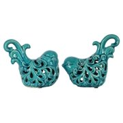 2-Pc Ceramic Bird Figurine in Gloss Finish Turquoise