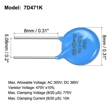 100Pcs Voltage Dependent Resistors AC 300V 7D471K L8 Radial Lead Disc Varistors - image 1 of 3