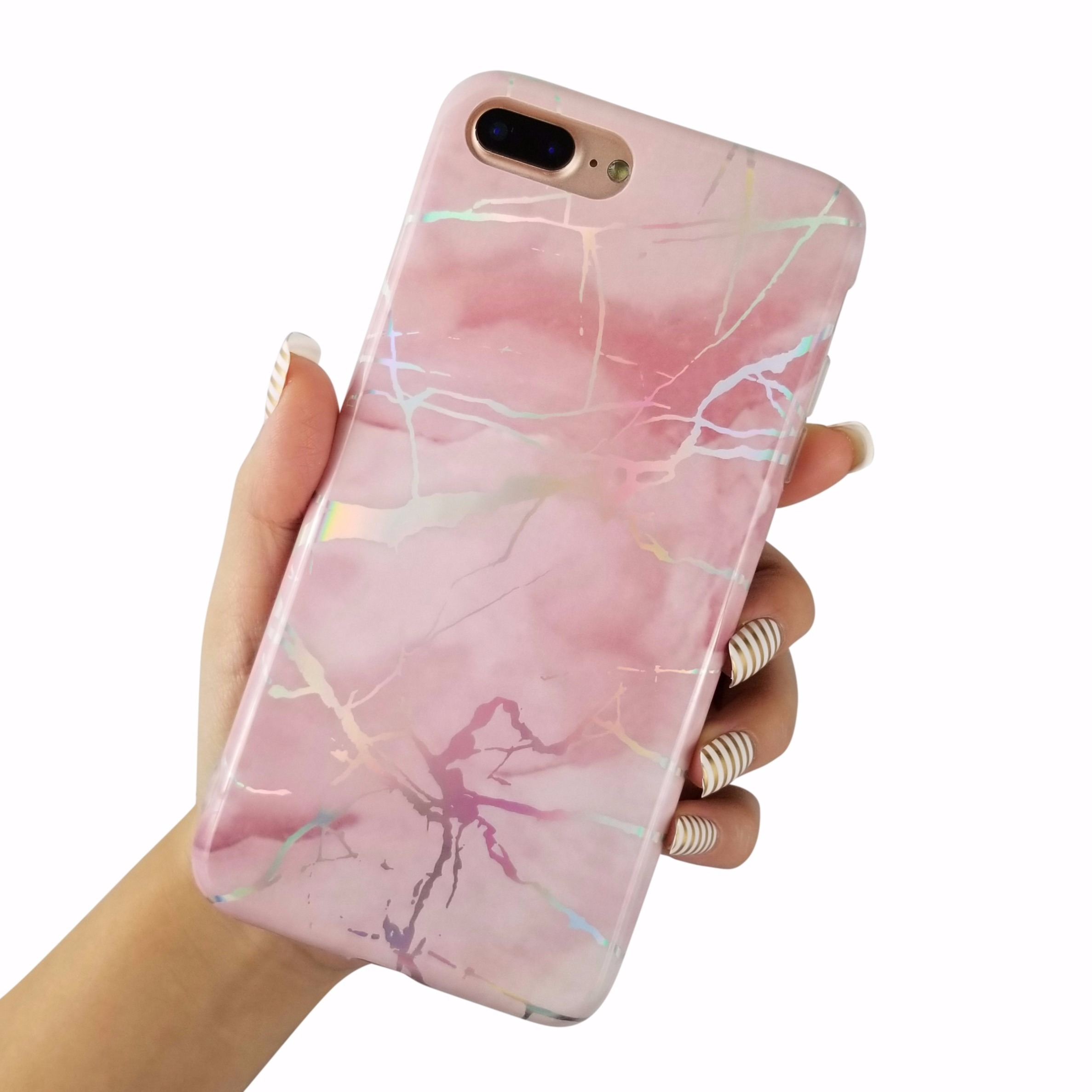 "For iPhone 8 Plus 5.5"" Glossy Laser Holographic Marble Soft TPU Case Cover"