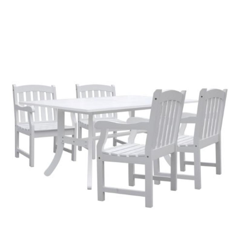 Bradley Rectangular and Curved Leg Table & Arm ChairOutdoor Wood Dining Set 6