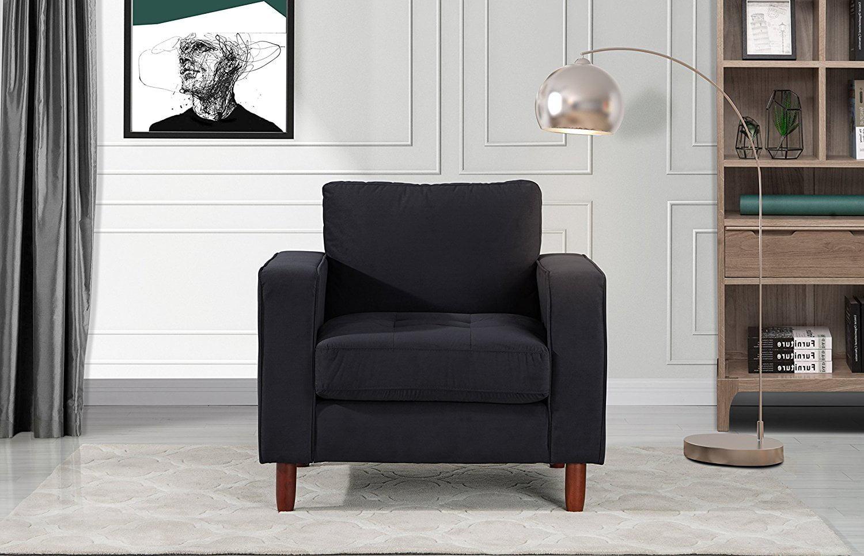 Grey Divano RomaFurniture EXP237-VV-1S Mid Century Modern Tufted Velvet Armchair Living Room Chair