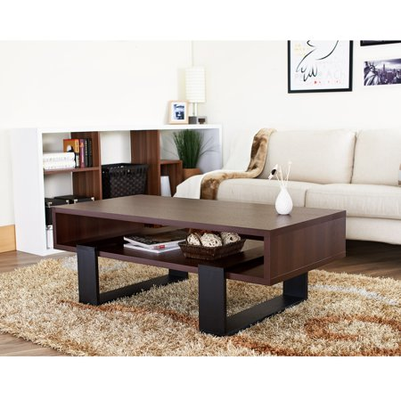 Furniture Of America Fayth Dark Walnut Black Coffee Table