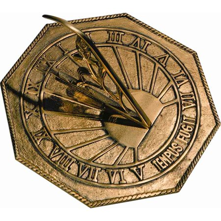 Brass Happiness Sundial - Classic Octagonal Sundial with Latin Motto