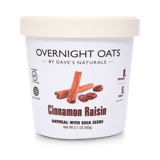 Dave's Gourmet Cinnamon Raisin Overnight Oats 2.1 oz Cup - Pack of 8