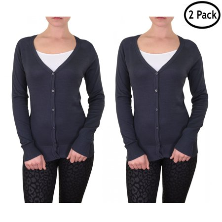 Qraftsy Women Classic Long Sleeve Cardigan Sweater - 2 Pack - Bulk Wholesale