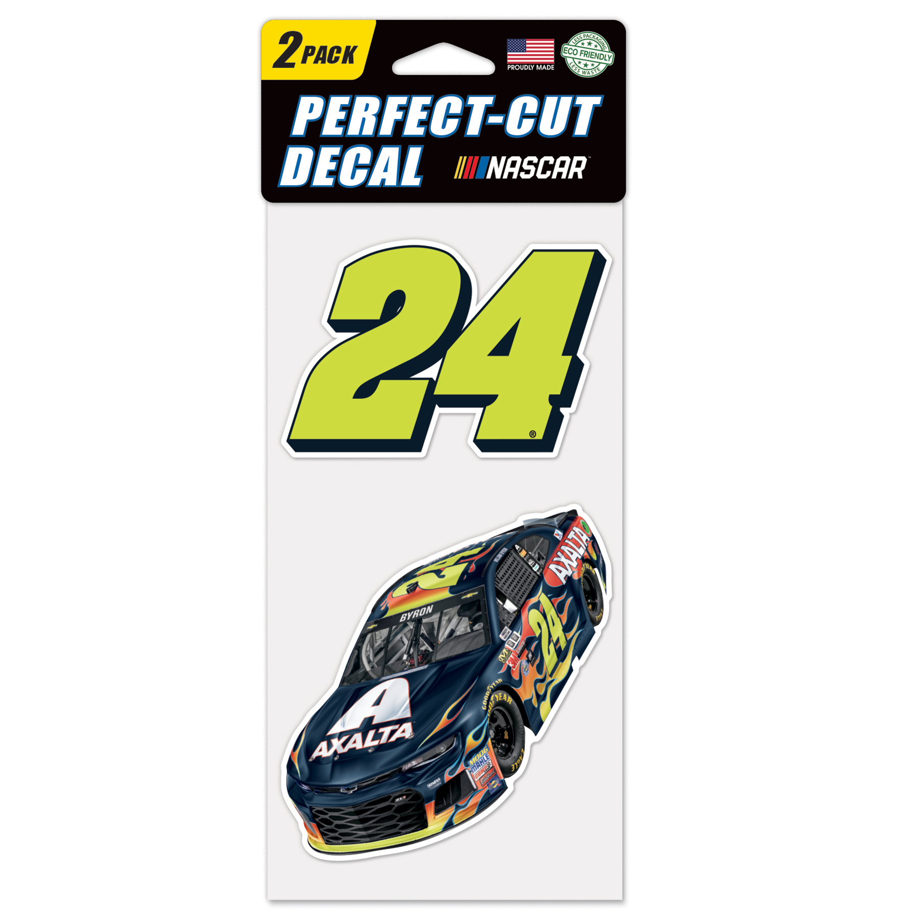 "William Byron WinCraft 2018 2-Pack 4"" x 8"" Perfect Cut Colored Decal Sheet - No Size"