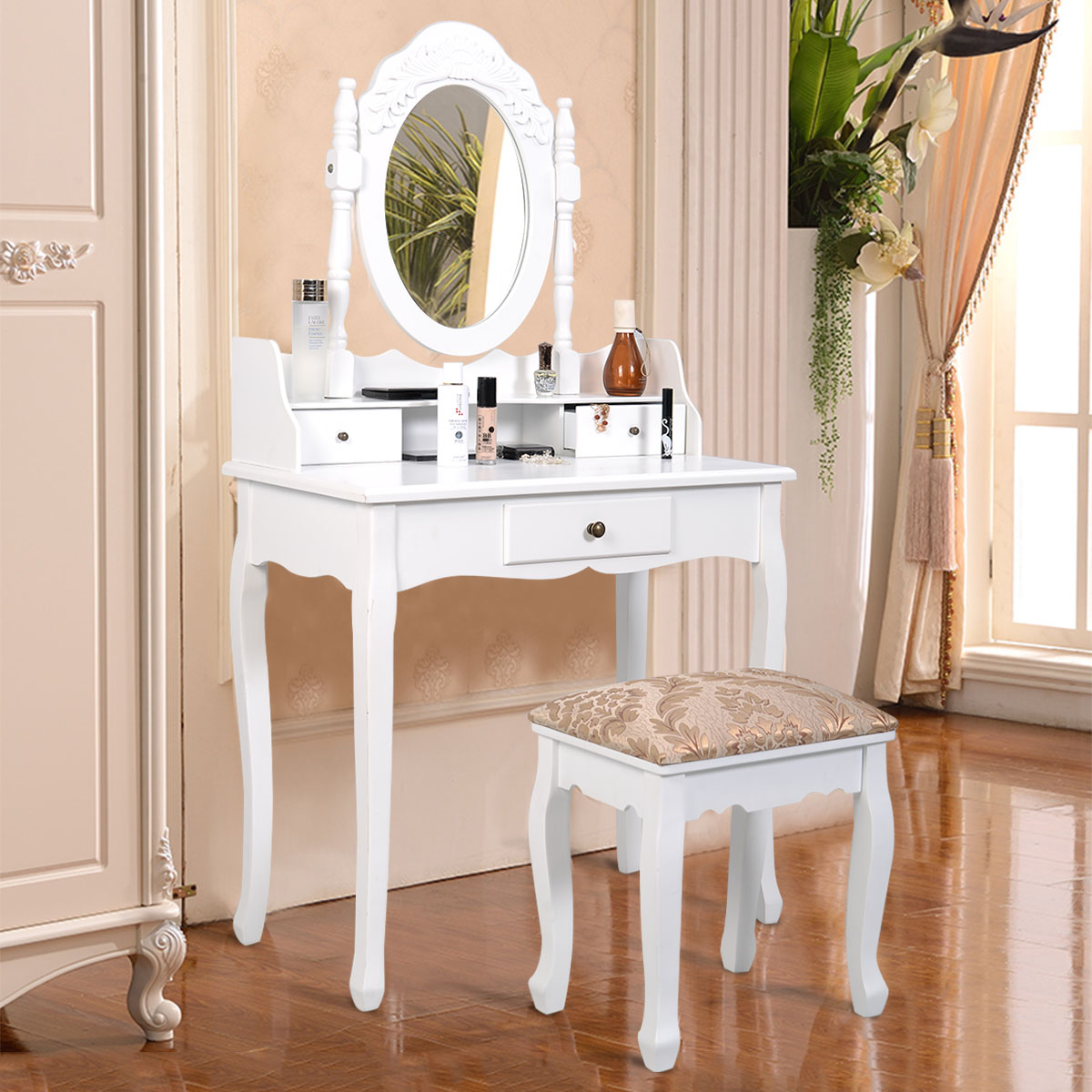 Costway Vanity Table Jewelry Makeup Desk Bench Dresser w/ Stool 3 Drawer White