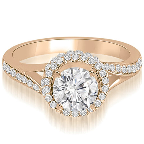 """0.95 cttw. 14K Rose Gold Double Halo Round Cut Diamond Engagement Ring (I1, H-I)"""