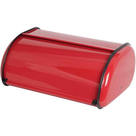 Home Basics Bread Box, Red Stainless Steel