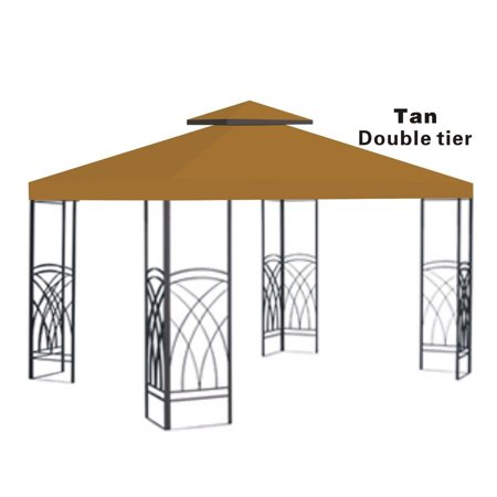 10x10' Replacement Canopy Top Patio Pavilion Gazebo Sunshade Polyester Cover-Double Tier ()