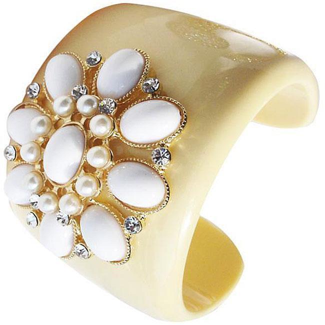 Zircomania 633B-3297WT White Cabochon Enamel Crystal and Faux Pearl Flower Cuff Bangle
