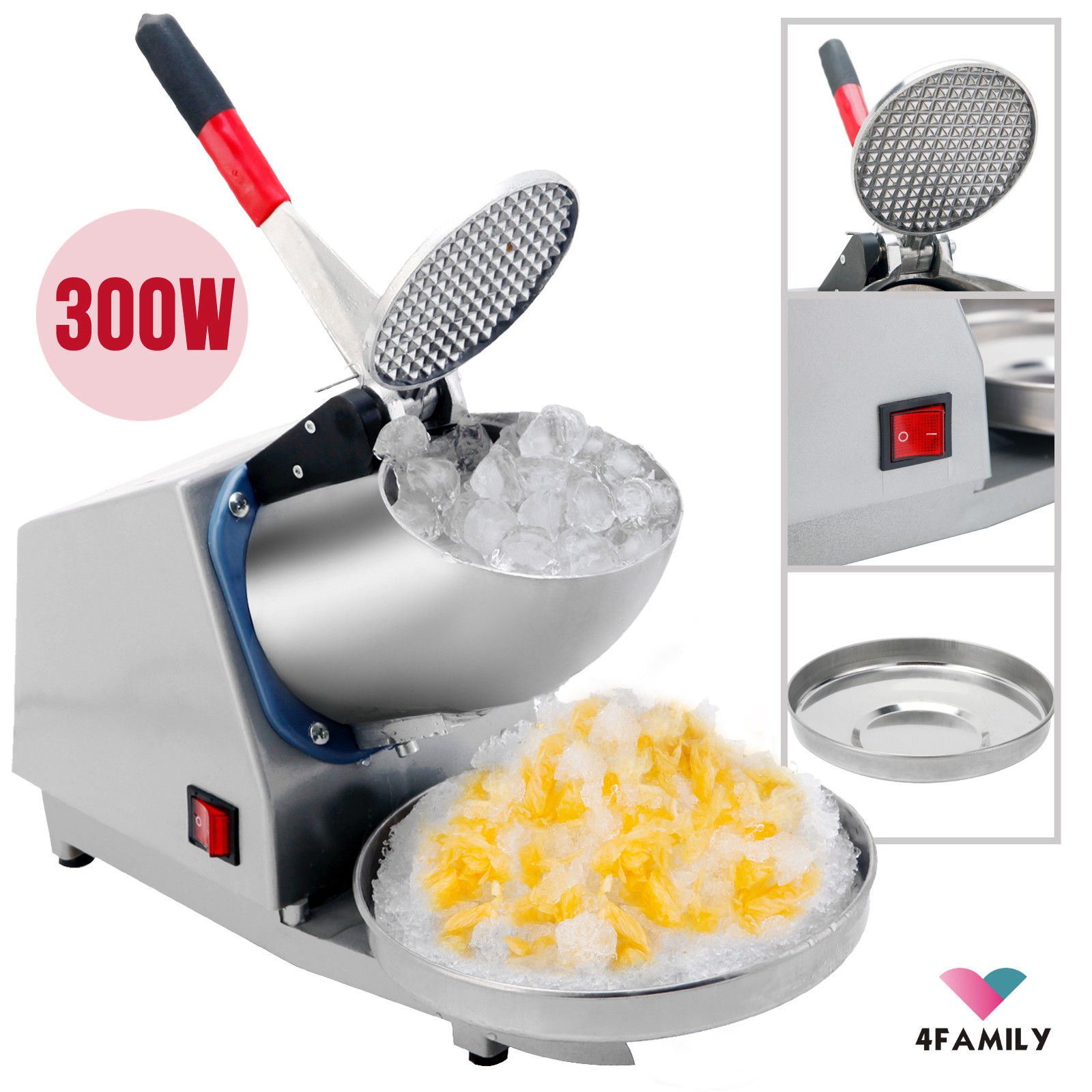 Commercial Electric Ice Crusher Shaver Machine Snow Cone Maker Home Shaved Ice by