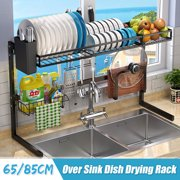 Over Sink Dish Drying Rack Storage Shelf Drainer Organizer Stainless Steel Cutlery Utensils Holder Space Saver Display Stand (Black, 33.5 /22.6 Inches)