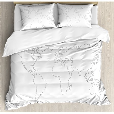 Map King Size Duvet Cover Set, Simplistic Design World Map Outline with  Thin Black Line Drawing Abstract Continents, Decorative 3 Piece Bedding Set  ...