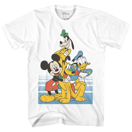 Disney Classic Group Pose Mickey Mouse Donald Duck Goofy Pluto Disneyland World Funny Graphic Adult Men's T Shirt
