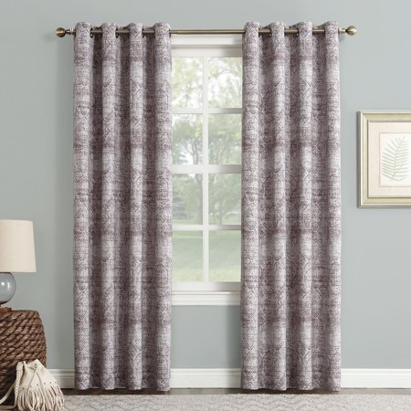 Sun Zero Dominic Distressed Woven Jacquard Blackout Grommet Curtain Panel
