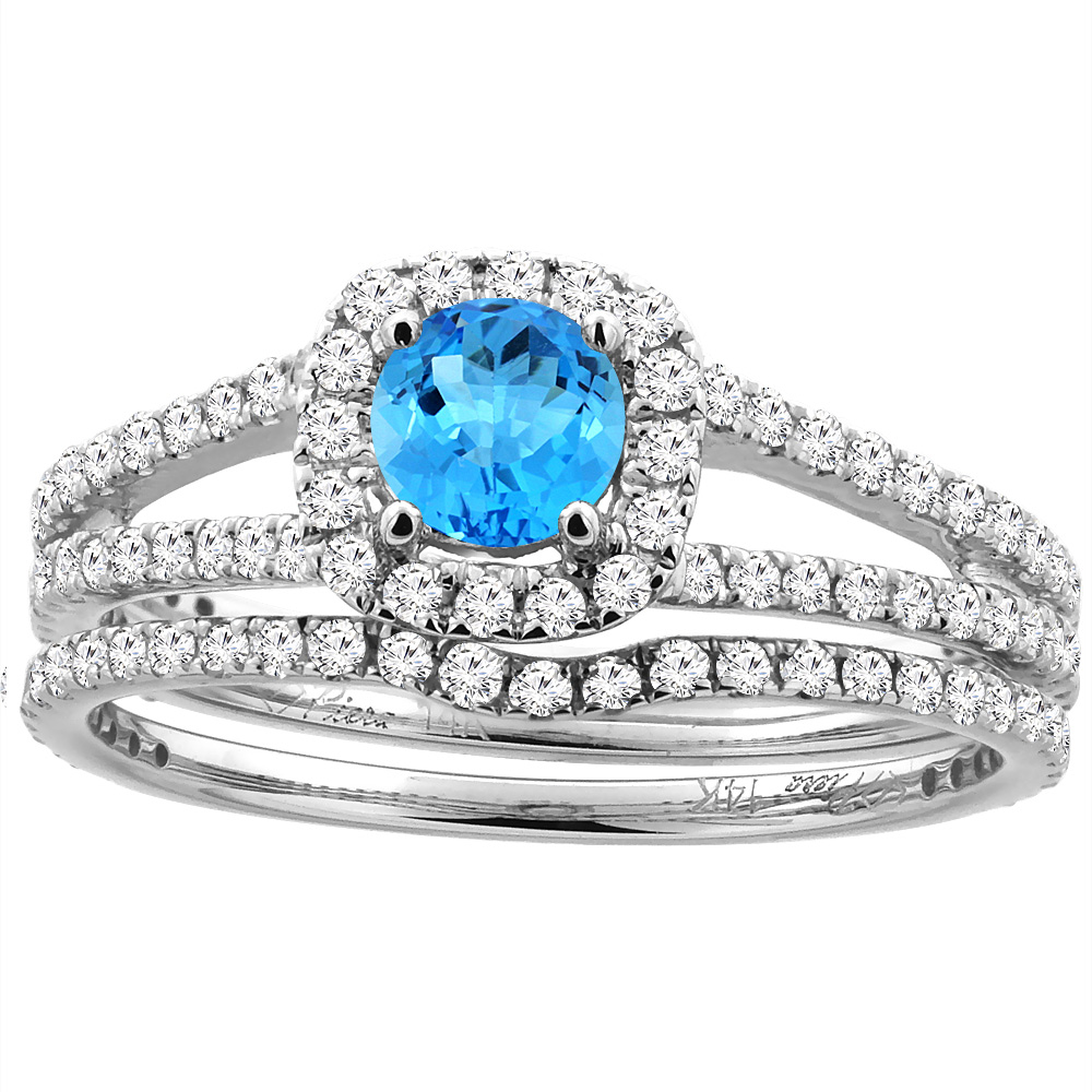 14K White Gold Diamond Halo Natural Swiss Blue Topaz 2pc Engagement Ring Set Round 5 mm, size 5.5 by Gabriella Gold
