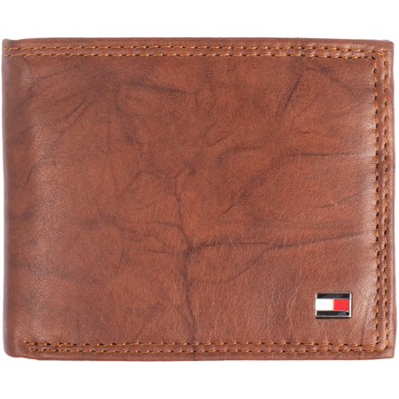Tommy Hilfiger Mens Huck RFID Leather Traveler Wallet One Size Brown Organized Travelers Leather
