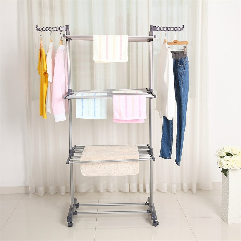 Hot Sale Multifunctional Indoor Outdoor Folding Laundry Storage Rack Clothes Drying Rack Dryer Garment Hanger Stand, Grey