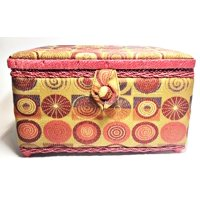 Allary Style #931-1796 Rectangle Sewing Basket, 11.5x7x6 Inch, Red