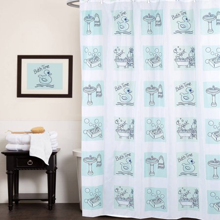 Polyester Fabric Shower Curtain Bath Time Rubber Ducky, Soap Print, 70