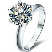 Womens Engagement Ring Solitaire 7mm Cubic Zirconia by Ginger Lyne