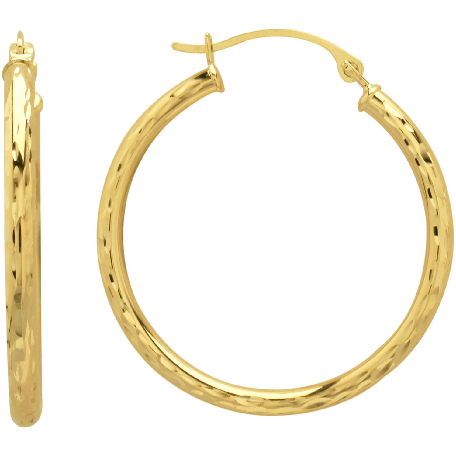Simply Gold 10kt Yellow Diamond Cut Hoop Earrings