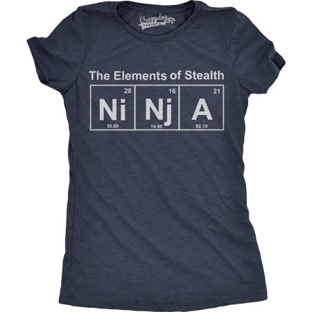 Womens Ninja Element T shirt Funny Science Warrior Novelty Mens Graphic Nerdy Tees (Nerdy Outfits)