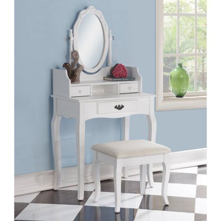 Roundhill Ribbon Wood Make-Up Vanity Table and Stool Set, Multiple Colors Available