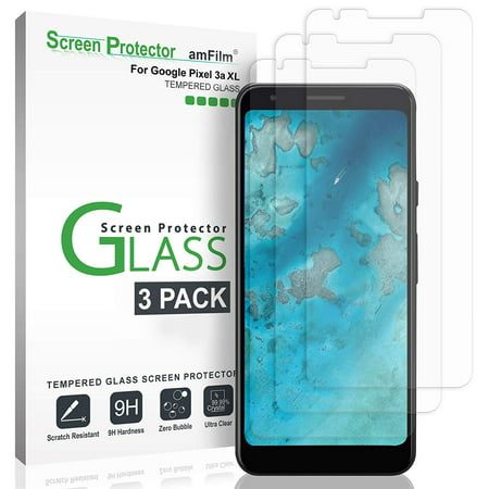 Google Pixel 3a XL Screen Protector Glass (3 Pack), amFilm Case Friendly Tempered Glass Screen Protector Film for Google Pixel 3a XL